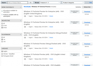Daftar Windows 10 Technical Preview