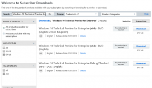 Daftar Windows 10 Technical Preview for Enterprise